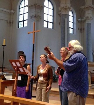 Bridgefolk annual hymn sing in Sacred Heart chapel at St Benedict's monastery. Leading music (right to left) are Samantha E. Lioi, Julia Smucker, Sally McGill and Bro. John Hanson OSB.